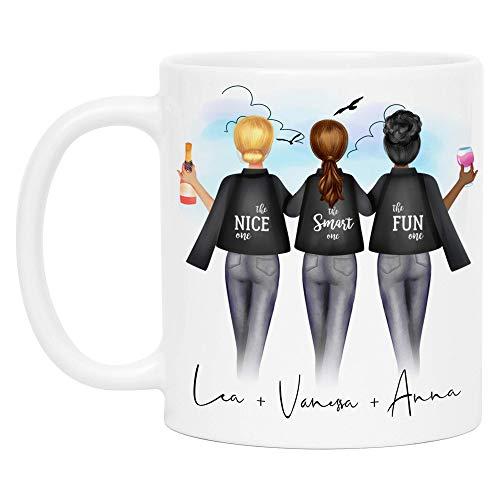 Kiddle-Design 3 Freundinnen Tasse Personalisiert DREI Beste Freundinnen Name Geschenk Freundinnengeschenk Kaffeetasse (mit Hintergrund)