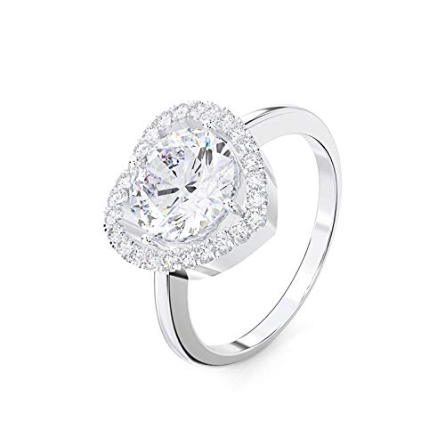 Adokiss Jewellery Women Ring Silver 925,Unique Wedding Bands Heart Shape Cubic Zirconia Size J 1/2,Birthday Gift for Your Wife/Girfirend/Mother