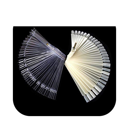 Nail Art Display False Display Nail Art Fan Wheel Polish Practice Board Tip Sticks Nail Art 50pcs Nail Polish/Nail Decoration Display-Natural With Screw-,