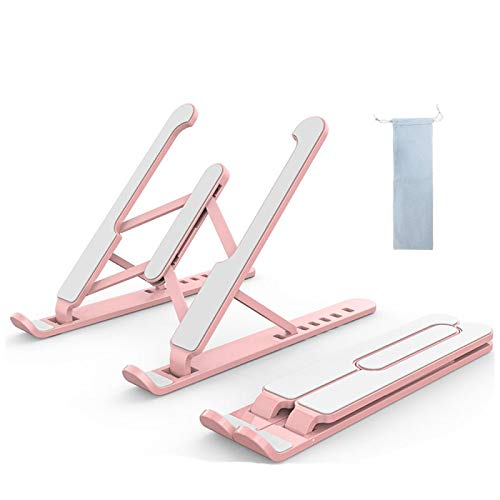 """Laptop Stand Adjustable Laptop Riser, Portable Laptop Holder Computer Stand with Storage Bag, Foldable Aluminum Cooling Notebook Riser for MacBook Pro Air, iPad, More 10-15.6"""" Laptops,Tablet Pink"""