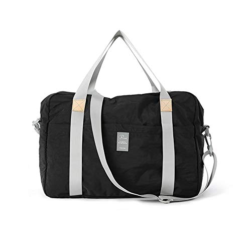 旅行バッグ 折りたたみ旅行バッグ トートバッグ 手提げ 折畳 トラベルバッグ トラベル鞄 スーツケース対応 キャリーに通せる多機能 トラベルバッグ キャリーケース 旅行カバン ボストンバッグ キャリーオン 収納バッグ (ブラック)