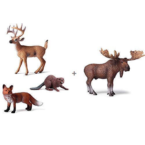EOIVSH 4 PCS Forest Animal Figures Buck/Moose/Fox/Beaver, Woodland Animal Figurines Cake Toppers Educational Miniature Playset Toys Party Supplies Cute Decoration for Baby Shower Birthday