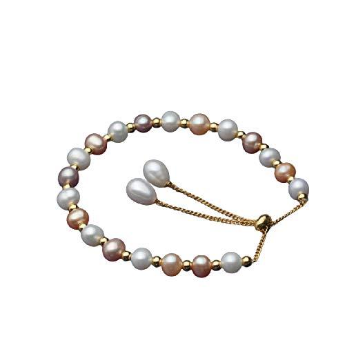 siqiwl Pulsera de perlas de Coloful natural hermosa pulsera de perlas de agua dulce clásica pulsera de perlas redondas regalo de novia