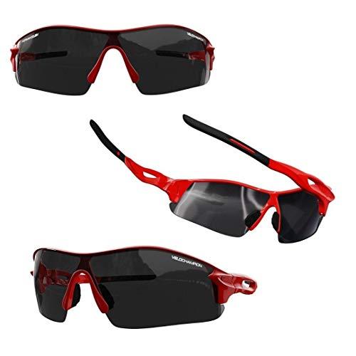 VeloChampion Kids Unisex Verano niño niña Junior Deportes Warp Ciclismo Moda Gafas de Sol Frescas Tonos UV400 UVA UVB Categoría 3 protección (Red)