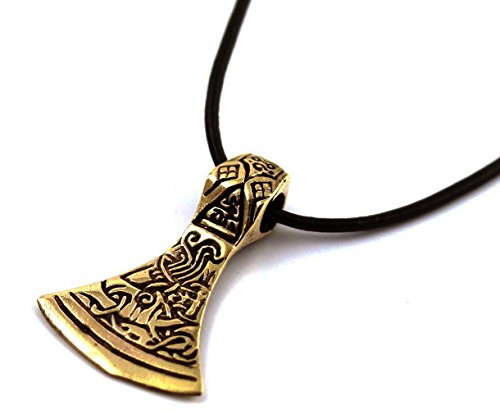 Bronze Celtic Viking Odin Axe head Thors Hammer Mjolnir Pendant Necklace Norse Jewelry Leather Cord18-32'