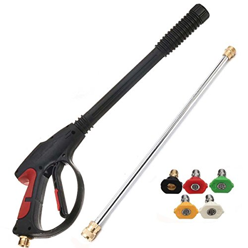 MATCC Pressure Washer Gun 4000 PSI Spray Gun With19'' Extension Wand, 4 Quick Connect Nozzles and 1 soap Nozzle for Car Pressure Power Washers