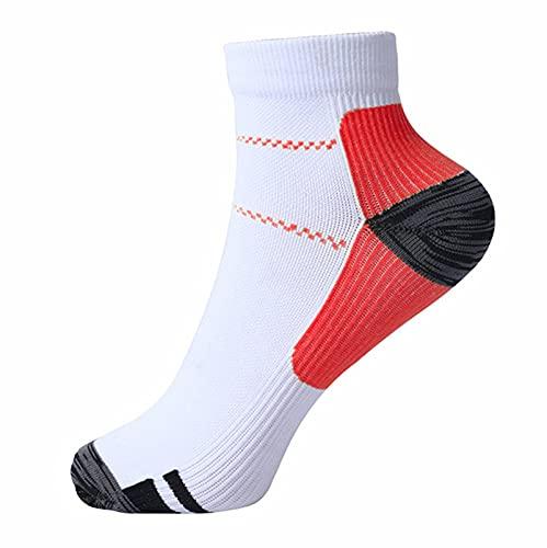 YUESUO 2 calcetines de compresión de cobre, 15 – 25 mmHg, para hombres y mujeres, cuidado de enfermería, correr, embarazo, varices, ultraligeros, tallas L-XL, color rojo