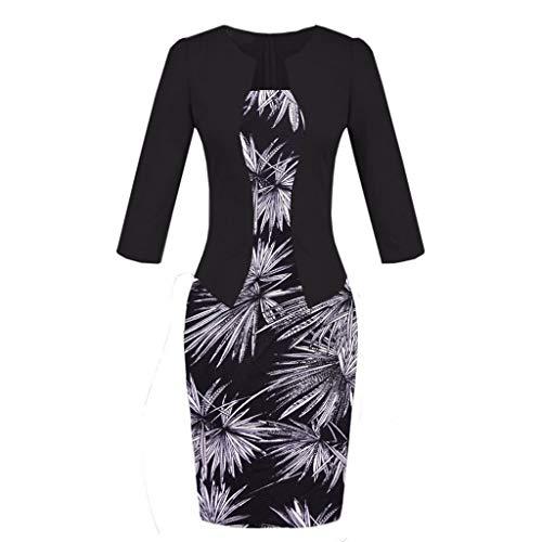 TEELONG Kleider Damen Patchwork-Blumen-gedruckte Abnutzung, zum des Geschäfts-Partei-formalen Schärpe-Kleides zu bearbeiten Ballkleid Partykleid Cocktailkleid(S, Grau)