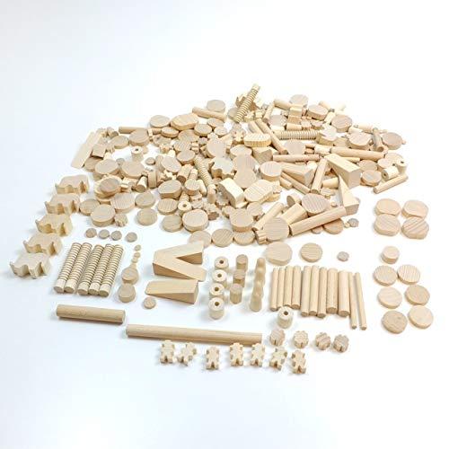 Bastelbox / 1 kg Holzteile in verschiedenen Größen + Formen / aus verschiedenen Holzsorten - holzfarbend / Made in Germany / ab 3 Jahre