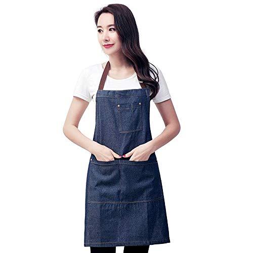 NUOBUNG Verstellbare Unisex-Latzschürze aus Denim mit 3 praktischen Taschen, exquisiter Verarbeitung, klassischem Modestil für Chefkoch, Küche, Grill, Männer und Frauen