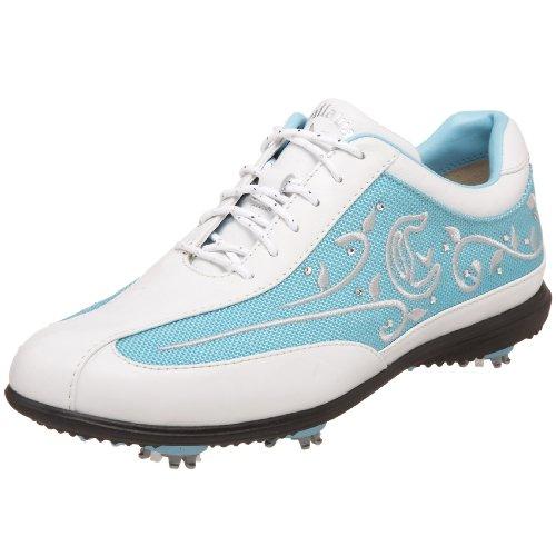 Callaway Women's Brocade Golf Shoe,White/Baby Blue,11 M US