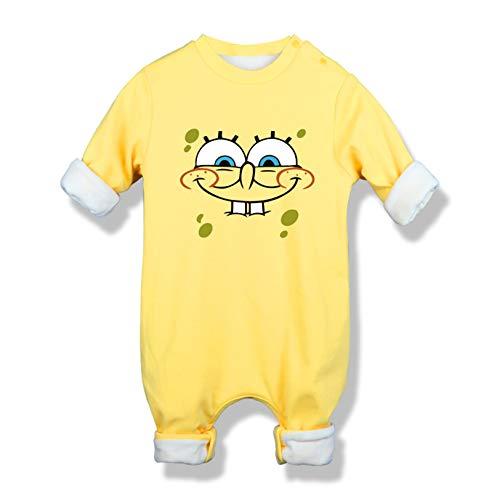 DHRBK Hooded Romper Outfits Spongebob Winter Warmer Schneeanzug Bodysuits Langarm Jumpsuit Geschenk Neugeborenes für Jungen Jungen Mädchen 0-2 Jahre