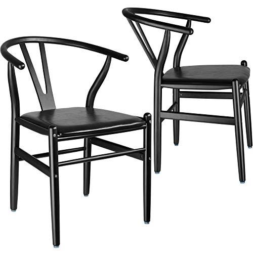 TecTake 800739 2er Set Designer Holzstuhl, mit geschwungener Rückenlehne, Sitzfläche in Lederoptik – Diverse Farben - (Schwarz   Nr. 403301)