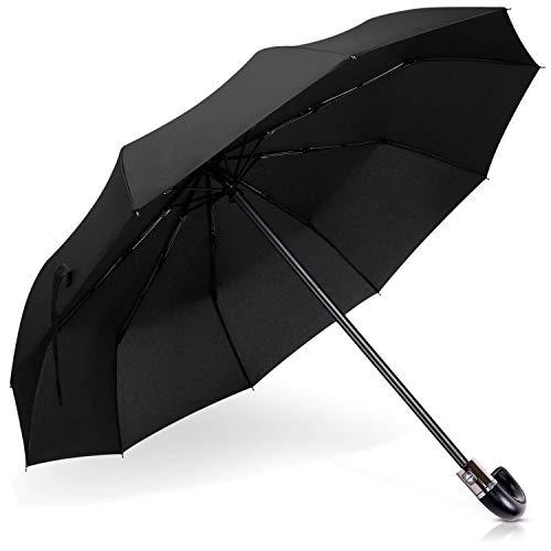 DORRISO Luxe Pliant Parapluie J-Poignée en Bois d'imitation Résistant Preuve de Neige Vent Automatique Ouverture/Fermeture Parapluie de Affaires Voyage J-Poignée Noire