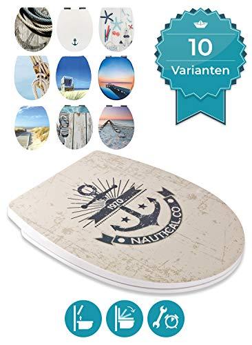 Calmwaters® WC Sitz Maritim Motiv Marine, Absenkautomatik & abnehmbar, Toilettendeckel günstig, Top-Fix-Befestigung von oben, universale O-Form, Thermoplast, Komfort Toilettensitz preiswert, 26LP5406