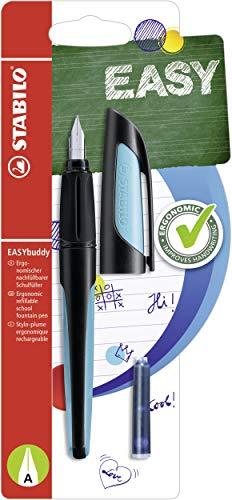 Schulfüller mit Anfänger-Feder A - STABILO EASYbuddy in schwarz/himmelblau - Schreibfarbe blau (löschbar) - Einzelstift - inklusive Patrone