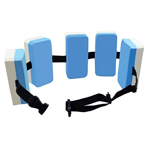 LAMF Schwimmgürtel zum Schwimmen lernen, hochwertiger EVA-Schaum-Schwimmgewichtsgürtel, verstellbarer Jogging-Gürtel, Schwimmgürtel für Kinder und Erwachsene, blau + weiß