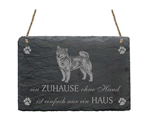Schiefertafel Shiba Inu « EIN ZUHAUSE OHNE HUND IST EINFACH NUR EIN HAUS » Schild mit Hunde Motiv - Geschenk Dekoschild Dekoration