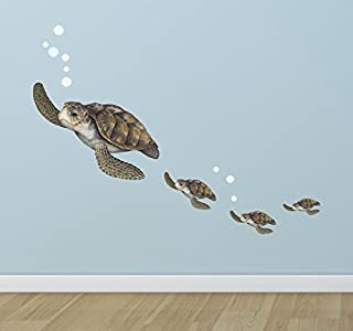 Create-A-Mural : Sea Turtle Family Wall Decals ~Under The Sea Decor Wall Stickers, Underwater Ocean Decals for Walls, Peel n Stick Room Decor