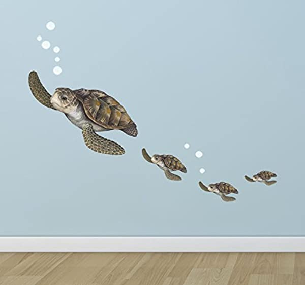 Create A Mural Sea Turtle Family Wall Decals Under The Sea Decor Wall Stickers Underwater Ocean Decals For Walls Peel N Stick Room Decor