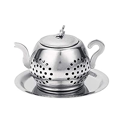 Tea Leaf Infuser, Psarts Stainless Steel Cute Mini Teapot Shaped Strainer with Drip Tray for Kitchen, Living Room, Office, Rustless,Easy to Use and Clean