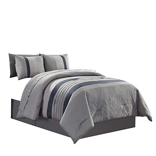 WPM WORLD PRODUCTS MART 7 Piece Bed in A Bag with Gray/Blue Comforter, Sheet Set, and Sham Size Bedding Set-Kingsley (King)