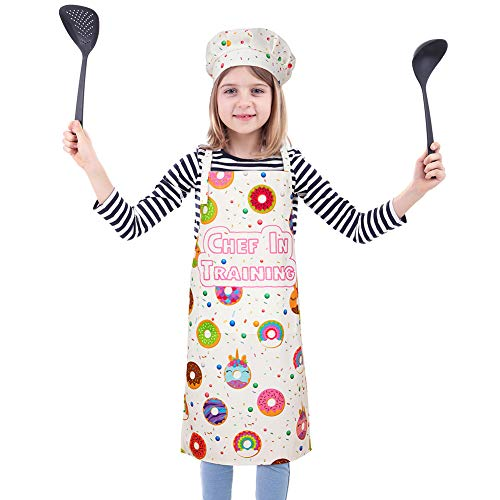 Play Tailor Kids Apron for Girls Boys Cooking Baking Donut Aprons and Chef Hat Set, Adjustable Strap with 2 Pockets, L(Age 8-12)