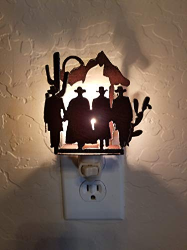 Tombstone OK Corral Doc Holliday Wyatt Earp Night Light made out of Rusted Steel Vintage Inspired