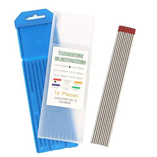 CENPEN Kit de soldadura 10 piezas 3/32 pulgadas x 7 pulgadas (2.4 x 175 mm) rojo WT20 2% tungsteno torado soldadura soldadura electrodo TIG