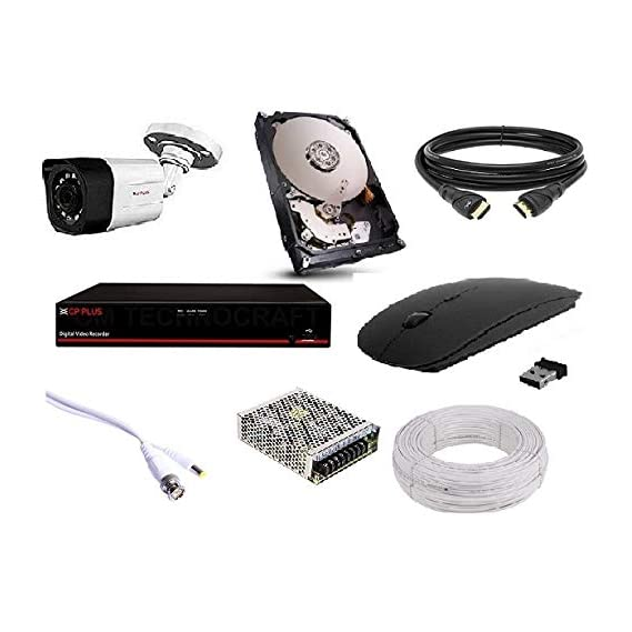 CP PLUS 1 Bullet (1.3MP), 500GB HDD, 4 Channel DVR, 4 Channel Power Supply, 90M Wire Bundle, Wireless Mouse with All Accessories