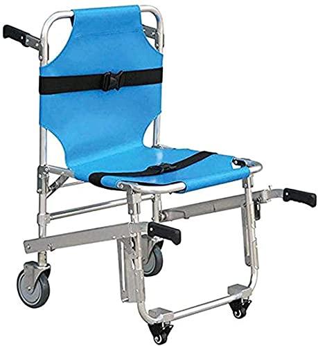 HYCy Silla de Escalera Silla de Ambulancia Plegable Ligera de Aluminio 3 Hebillas de liberación Ajustables Elevadores de sillas de Emergencia 4 Ruedas Silla de Transporte-Azul (Azul)