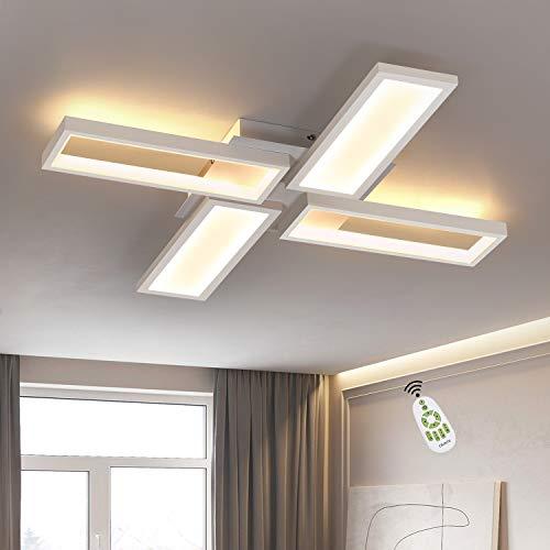 CBJKTX Lámpara LED de techo para salón, color blanco, regulable, 58 W, 63,5 cm, rectangular, diseño moderno, para dormitorio, cocina, con mando a distancia