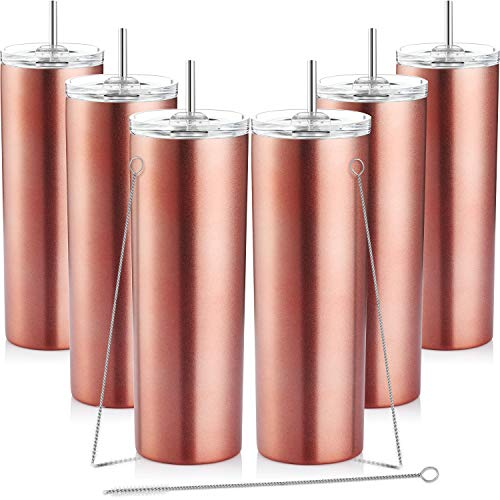 6 Pieces Skinny Tumbler Stainless Steel Double-Insulated Water Tumbler Cup with Splash Proof Sliding Lid and Straw, 20 oz Vacuum Travel Slim Bottle for Hot Cold Drinks with Brush (Rose Gold)