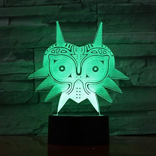 Nachtlampje 3D-masker, 7 kleuren, led-tafellamp, kantoordecoratie, voor slaapkamer, nachtkastje, tafel, kinderen, cadeau voor Kerstmis, feest, verjaardag, USB-oplading