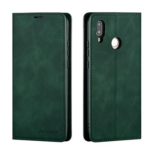 QLTYPRI Hülle für Huawei P20 Lite, Premium Dünne Ledertasche Handyhülle mit Kartenfach Ständer Flip Schutzhülle Kompatibel mit Huawei P20 Lite - Grün