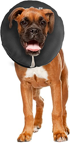 ZenPet Protective Inflatable Recovery Collar for Dogs and Cats - Soft Pet Collar Does Not Block Vision E-Collar - Designed to Prevent Pets from Touching Stitches, Wounds and Rashes (Large)