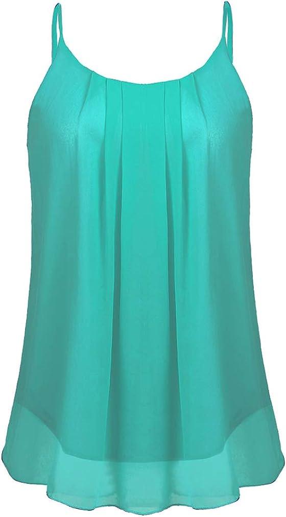 Sherosa Women's Chiffon Layered Summer Cami Tank Tops Causal Sleeveless Blouse Shirts