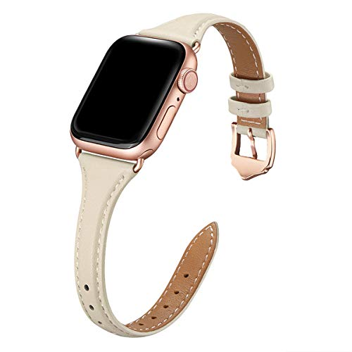 WFEAGL Leather Bands Compatible with Apple Watch 38mm 40mm 42mm 44mm, Top Grain Leather Band Slim & Thin Replacement Wristband for iWatch SE & Series 6/5/4/3/2/1 (IvoryWhite/RoseGold, 38mm 40mm )