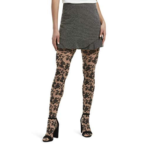 HUE Women's Fashion Tights with Control Top, Assorted, floral lace/cream, M/L