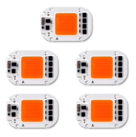 ILS - 5 Piezas 50W 220V Full Spectrum LED COB Chip Grow Light Crecer la luz para la Planta