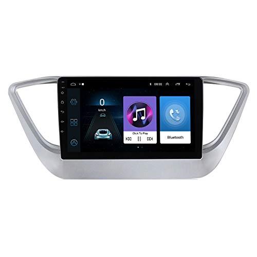 ADMLZQQ Android 9 Coche Radio Estéreo Autoradio Bluetooth MirrorLink GPS USB para Hyundai Solaris 2 Verna 2017-2020 Manos Libres Bluetooth Mandos Volante + Cámara Respaldo,4 Cores 4g+WiFi:2+32g