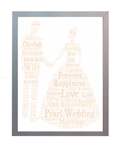 Framed 30th Pearl Wedding Anniversary Word Art A4 Print Gift. Photo Picture Keepsake Gift for Mum, Dad, Gran, Grandad, Friend & Family by Oaktree Gifts