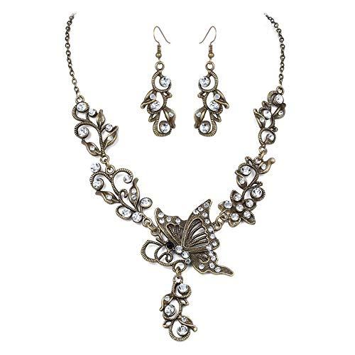 TTDAltd Halskette Schmetterling Blume Braut Brautkleid Quaste Halskette Anzüge Halskette + Ohrring Schmuck Set Baumel Ohrringe Kette-3