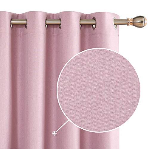 Deconovo 100% Blickdichte Vorhänge Gardinen Schlafzimmer Ösenvorhang Verdunkelung Leinenoptik Pink 175x140 cm 2er Set