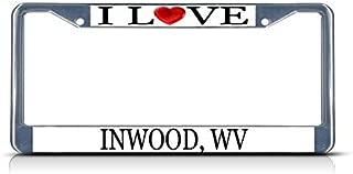 Cukudy Car Auto Tag Holder Chrome I Love Heart Inwood Wv Aluminum Metal Car Auto Tag Holder Chrome Silver