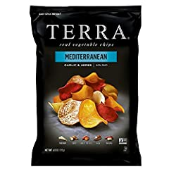 One 6.8 oz. bag of Mediterranean Chips Blend of yuca, parsnip, sweet potato, batata, taro and beet-dipped vegetables Made with real vegetables Gluten-free, Kosher and made with non-GMO ingredients 0mg of cholesterol and 0g of trans fat and no artific...
