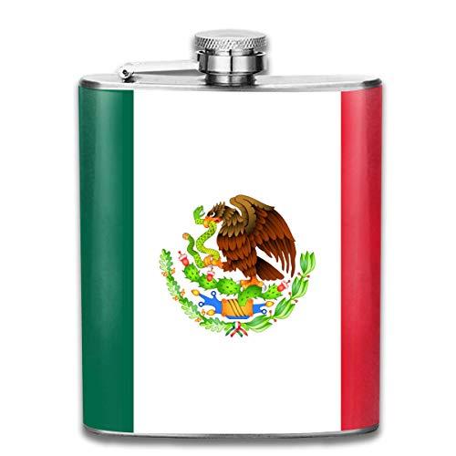 Flachmann für Likör, mexikanische Flagge, Schlange und Adler, langlebiger Edelstahl-Flachmann mit U-förmigem Körper, 200 ml, rostfrei, auslaufsicher, für Reisen, Angeln, Picknick