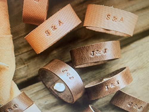 Set Of Six hand stitched Napkin Rings In Natural leather Made in USA: All Leather Napkin Rings - Classy and minimalist - Distressed Medium Brown leather add name date available in 3 colors