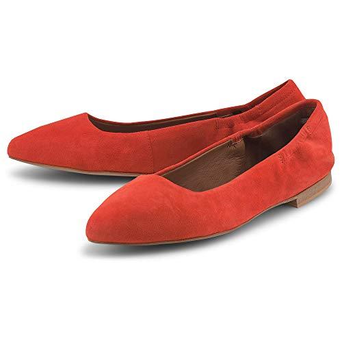 Cox Damen Stretch-Ballerina Orange Rauleder 37