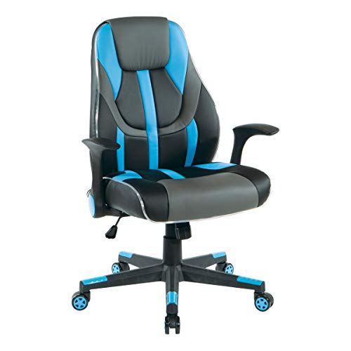 OSP Home Furnishings Output Mid-Back LED Lit Gaming Chair, Black Faux Leather with Blue Trim and Accents